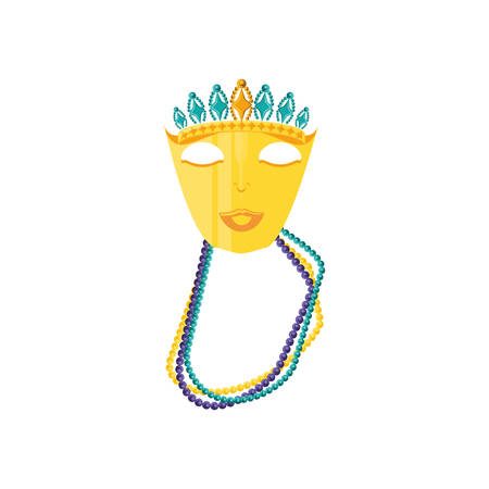 mask with crown of queen for carnival and necklaces vector illustration design Ilustração