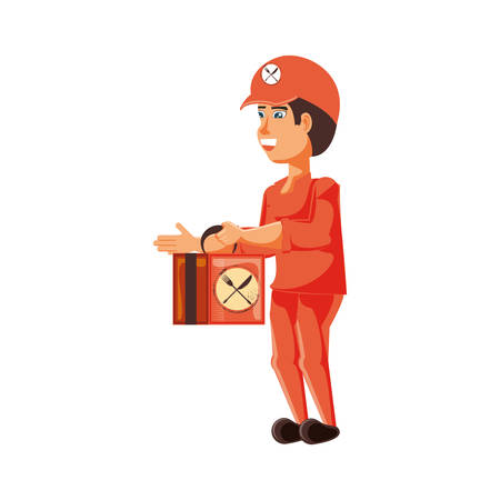 delivery worker with fast food box vector illustration design