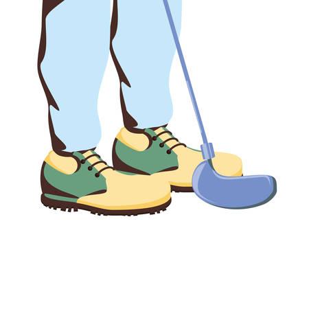Pies de jugador de golf con diseño de ilustración de vector de palo