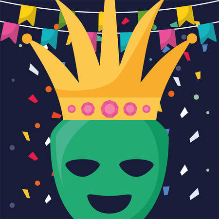 theatrical happy masks with crown vector illustration design