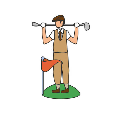 golfer with stick golf and flag vector illustration design Ilustração