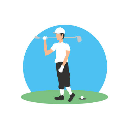 golfer with field and stick golf vector illustration design