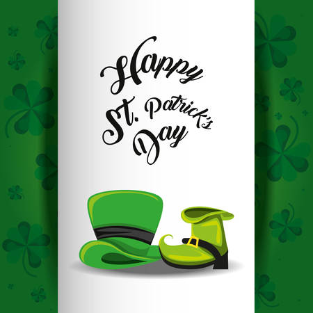 st patrick day with top hat and boot vector illustration design
