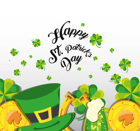 st patrick day with top hat and icons vector illustration design