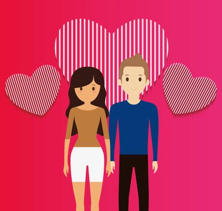 Couple d'amoureux avec des coeurs flottant vector illustration design