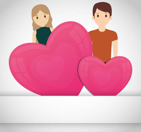 lovers couple with hearts love vector illustration design