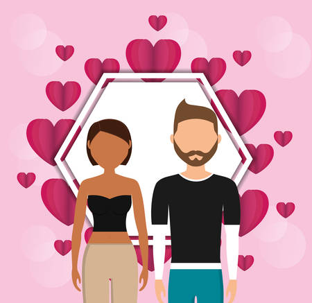 lovers couple with hearts love frame vector illustration design Ilustração
