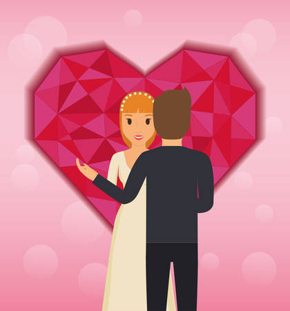 lovers couple with abstract heart love vector illustration design