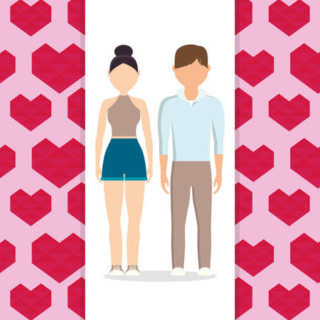lovers couple with hearts pattern background vector illustration design
