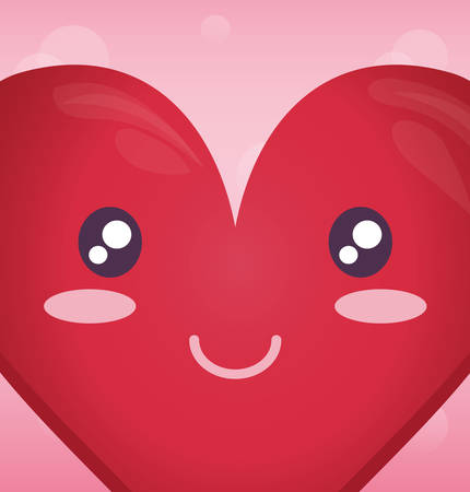 heart face emoticon character vector illustration design Illustration