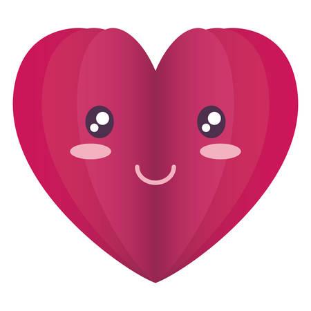 heart face emoticon character vector illustration design
