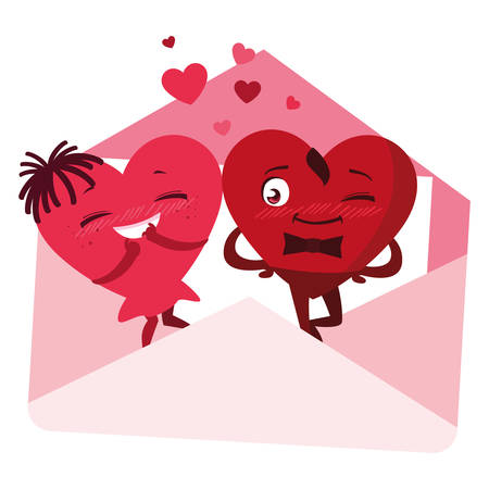 hearts couple in envelope emoticons vector illustration design