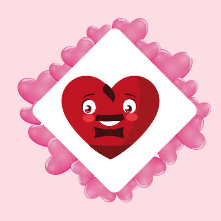 heart face emoticon character in frame with hearts vector illustration design Illustration