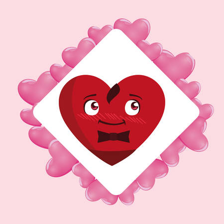 heart with bowtie emoticon character vector illustration design