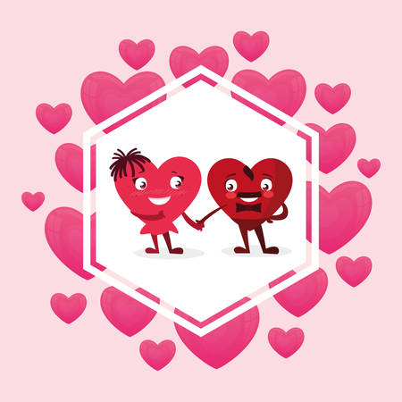 hearts couple emoticons characters vector illustration design