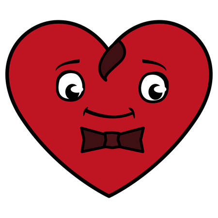 heart with bowtie emoticon character vector illustration design Illustration