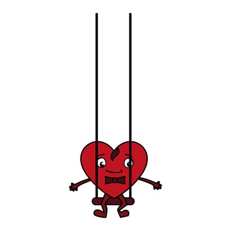 heart in swing emoticon character vector illustration design