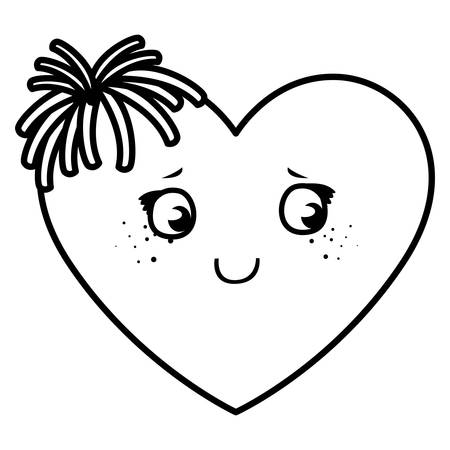 Conception d'illustration vectorielle de caractère émoticône visage coeur Vecteurs