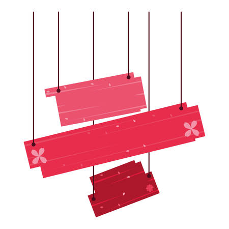 label with wooden boards hanging vector illustration design Stock Illustratie