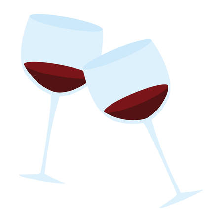 wine cups toast icon vector illustration design