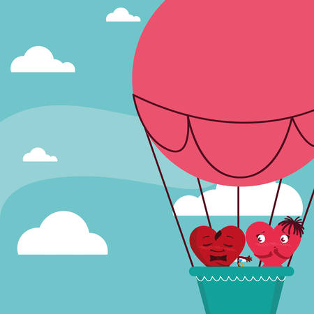 hearts couple flying in balloon air hot vector illustration design