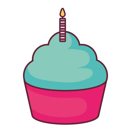 sweet cupcake with candle vector illustration design Illustration