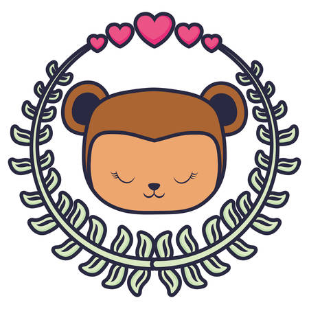 cute and little monkey with wreath and hearts vector illustration design Vectores