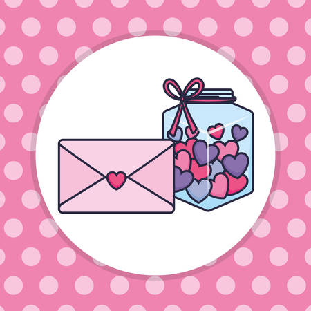 cute mason jar with love hearts and envelope vector illustration design Ilustração
