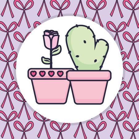 cute cactus plant icon vector illustration design