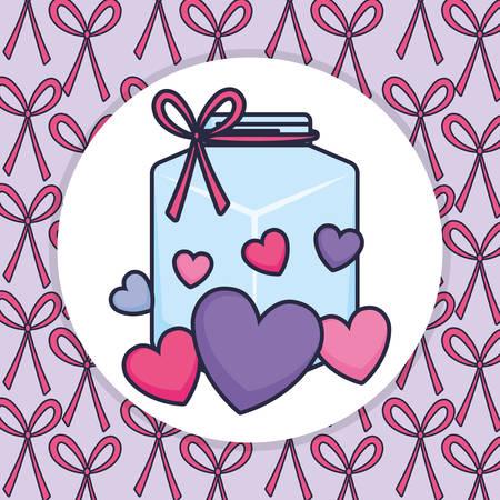 cute mason jar with love hearts vector illustration design