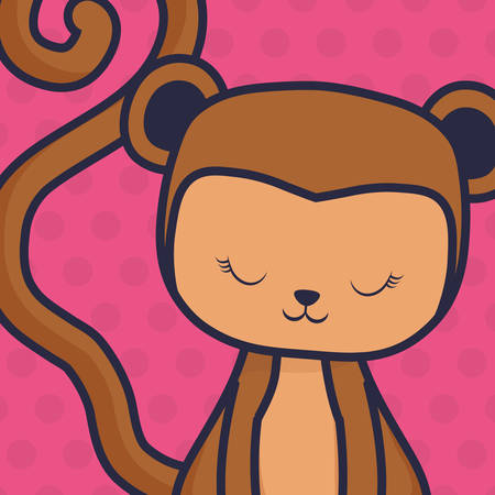 cute and little monkey character vector illustration design