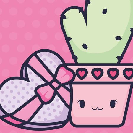 cute cactus plant kawaii character vector illustration design 矢量图像