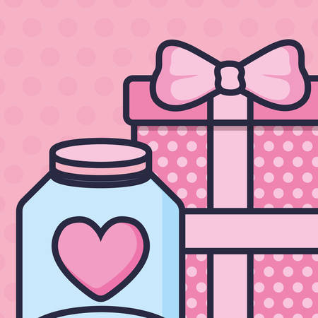 cute mason jar with love hearts and gift vector illustration design