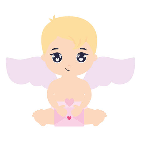 little cupid baby with love envelope vector illustration design