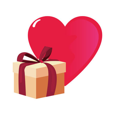 gift box heart happy valentines day vector illustration Stock Illustratie