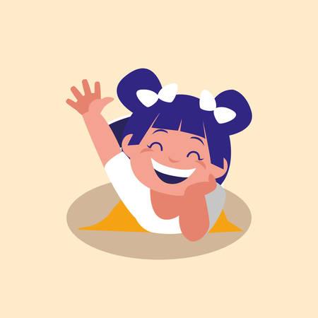 cute little girl greeting avatar character vector illustration design