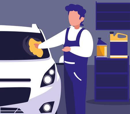 car in maintenance workshop with mechanic working vector illustration design