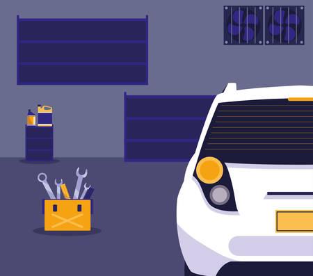 white car in maintenance workshop vector illustration design Vettoriali