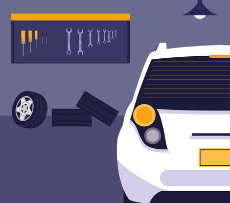 white car in maintenance workshop vector illustration design  イラスト・ベクター素材