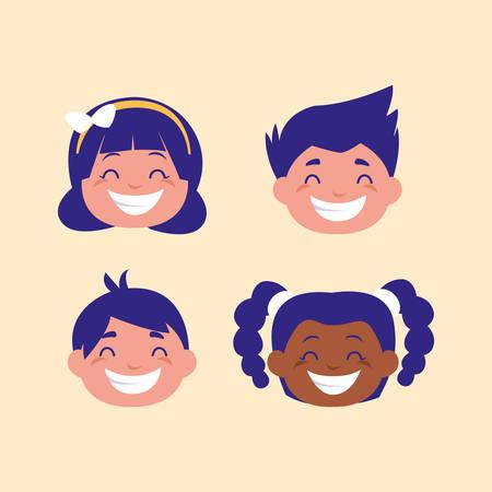 head of cute children avatar character vector illustration design