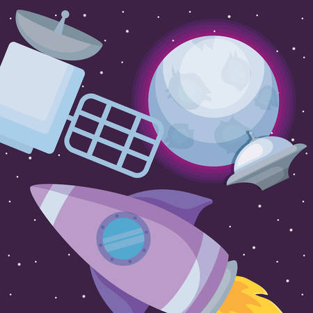 satellite and Rocket around the planet  over space background, colorful design. vector illustration