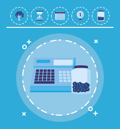 cash register and moneybox bottle  over blue background, vector illustration