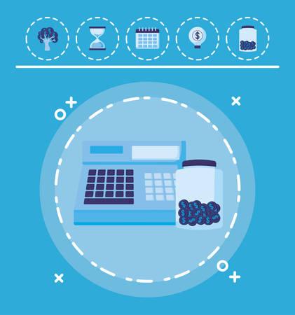 cash register and moneybox bottle  over blue background, vector illustration