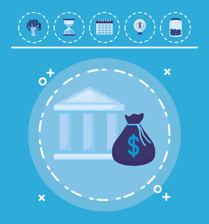 Bank building and money bag with money related icons over blue background, vector illustration