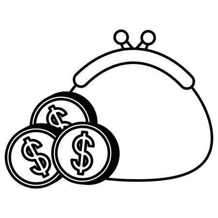 Monedas de dinero y bolso sobre fondo blanco, ilustración vectorial