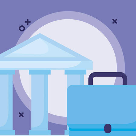 Bank building and briefcase over purple background, vector illustration Çizim