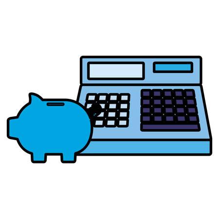 cash register and piggy bank over white background, vector illustration