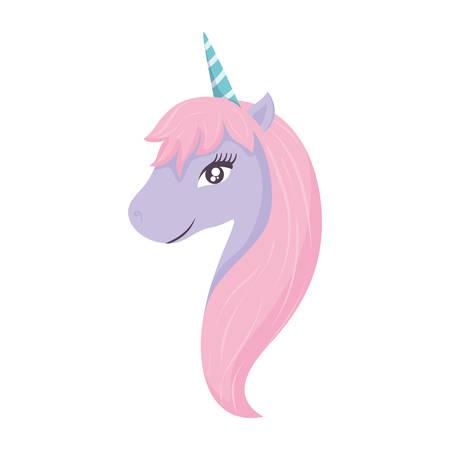 cute unicorn icon over white background, colorful design. vector illustration Ilustração