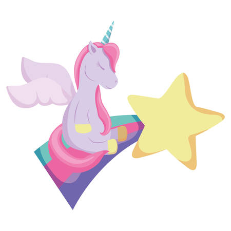 shooting star and cute unicorn over white background, vector illustration Illustration