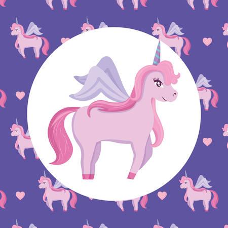 Magic unicorn icon over colorful  background, vector illustration